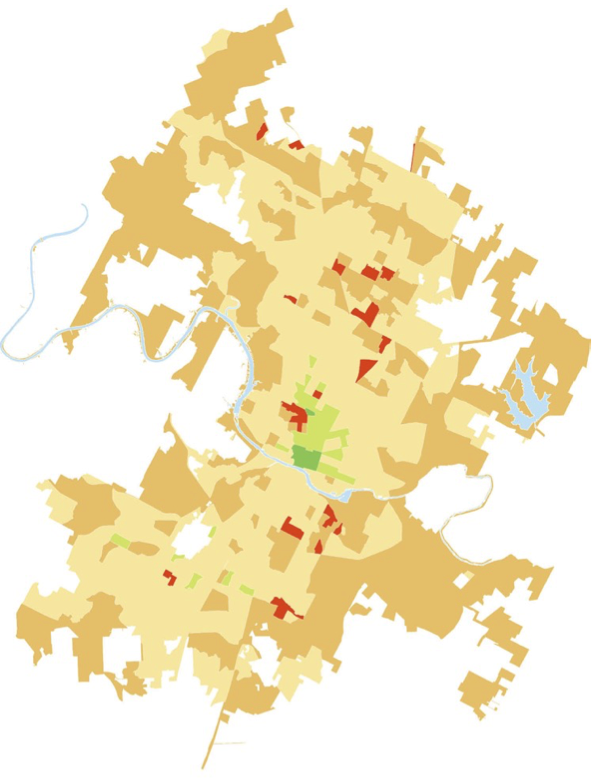 Transit Desert Map in Austin Texas (the darker the color, the worse the transit service)